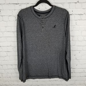 KANGOL | grey space dye henley long sleeve shirt